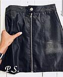 Кожаная черная короткая юбка с молнией спереди по всей длине vN3298, фото 2