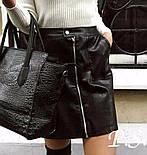 Кожаная черная короткая юбка с молнией спереди по всей длине vN3298, фото 3