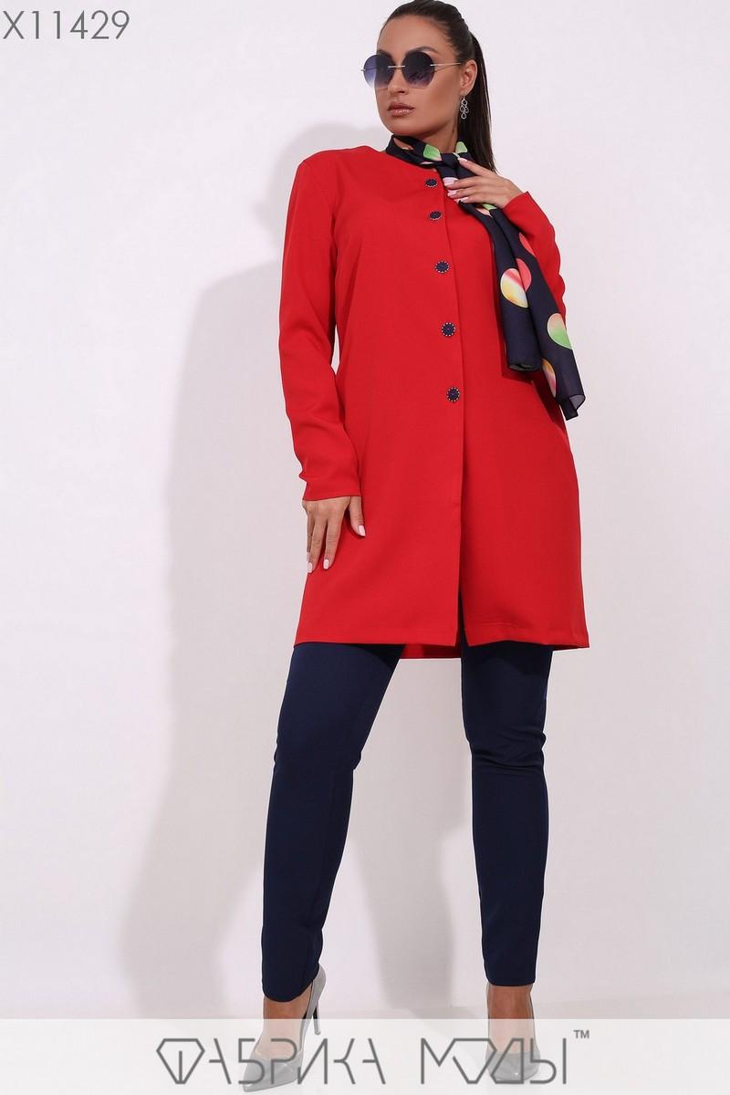 (от 48 до 54 размера) Женский брючный костюм в больших размерах с удлиненным кардиганом vN3306