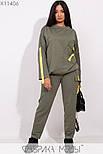 (от 48 до 56 размера) Женский спортивный костюм в больших размерах с накладными карманами vN3308, фото 2