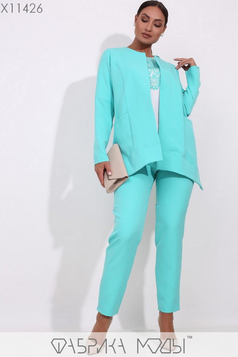 (от 48 до 54 размера) Брючный женский костюм в больших размерах офисный с пиджаком vN3309