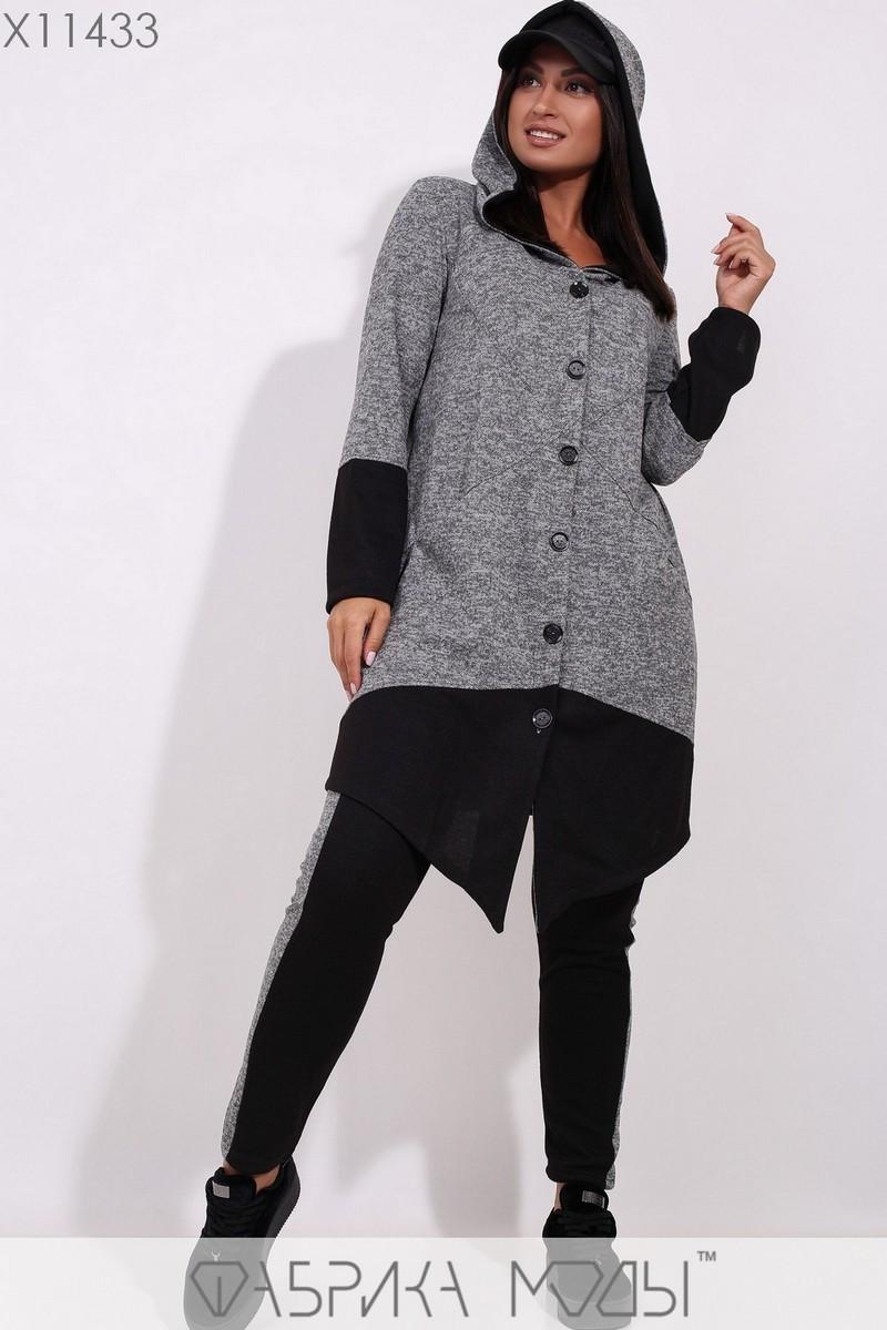 (от 48 до 56 размера) Ангоровый женский спортивный костюм в больших размерах с удлиненной асимметричной кофтой vN3310