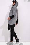 (от 48 до 56 размера) Ангоровый женский спортивный костюм в больших размерах с удлиненной асимметричной кофтой vN3310, фото 3