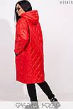 (от 48 до 62 размера) Женское демисезонное плащевое пальто в больших размерах на молнии vN3311, фото 4