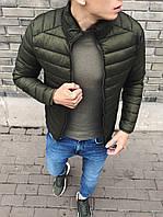 Куртка мужская весенняя ( Размеры L, XL ). Стильная мужская курточка зеленая (хаки)
