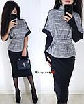 Юбочный женский костюм с блузой под пояс и воротником - стойкой vN3353, фото 3