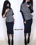 Юбочный женский костюм с блузой под пояс и воротником - стойкой vN3353, фото 4