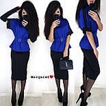 Юбочный женский костюм с блузой под пояс и воротником - стойкой vN3353, фото 5
