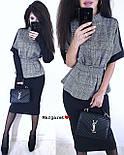 Юбочный женский костюм с блузой под пояс и воротником - стойкой vN3353, фото 6