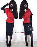 Юбочный женский костюм с блузой под пояс и воротником - стойкой vN3353, фото 7