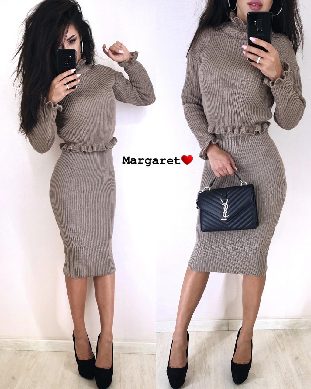 Вязаный женский юбочный костюм с топом с длинным рукавом vN3354