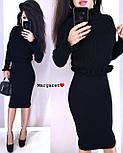 Вязаный женский юбочный костюм с топом с длинным рукавом vN3354, фото 2
