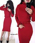 Вязаный женский юбочный костюм с топом с длинным рукавом vN3354, фото 3