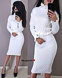 Вязаный женский юбочный костюм с топом с длинным рукавом vN3354, фото 4