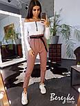 Женский брючный костюм с карго штанами и боди в рубчик vN3361, фото 2