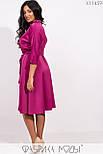 (от 48 до 54 размера) Платье в больших размерах с расклешенной юбкой под пояс с верхом на запах vN3370, фото 4