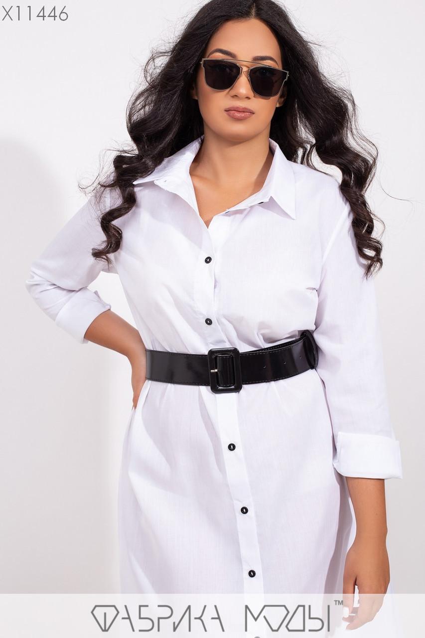(от 48 до 54 размера) Платье - рубашка в больших размерах длиной миди с длинным рукавом vN3371