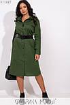 (от 48 до 54 размера) Платье - рубашка в больших размерах длиной миди с длинным рукавом vN3371, фото 2