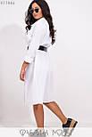 (от 48 до 54 размера) Платье - рубашка в больших размерах длиной миди с длинным рукавом vN3371, фото 5