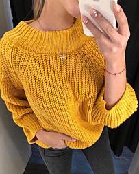 Женский свитер крупной вязки со спущенными плечами vN3383
