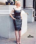 Кожаный женский сарафан футляром с карманами vN3401, фото 3