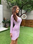 Вязаное облегающее платье выше колен с U - вырезом vN3405, фото 5