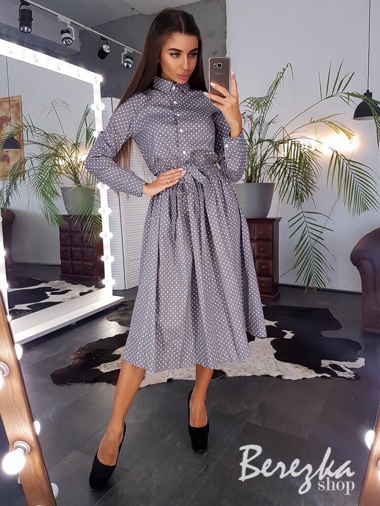 Платье - рубашка с пышной юбкой и длиной миди с поясом на талии vN3408