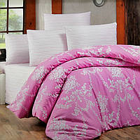 """Комплект постельного белья """"Victoria"""" Gloria Розовый Ranfors (двуспальный евро)"""