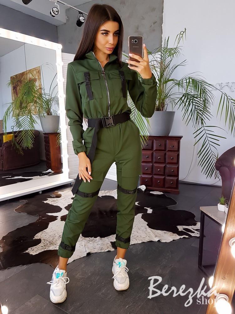 Женский комплект бомбер и брюки карго с ремешками и фастексом vN3442