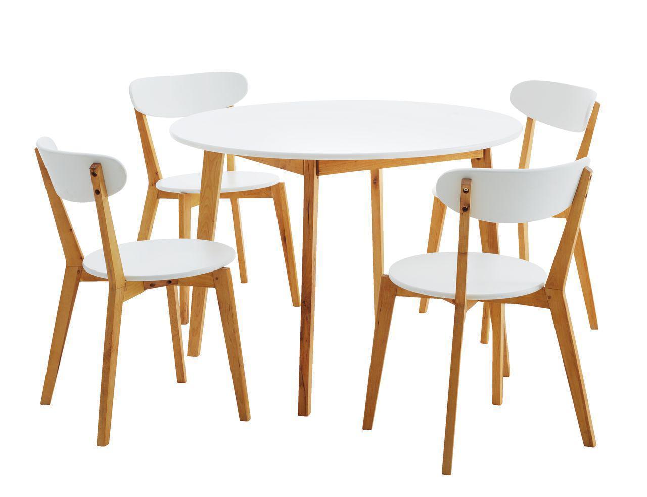 🏡Комплект кухонный компактный белый (стол круглый + 4 стула) | стол кухонный, стол и стул кухонный, комплект мебели, комплект кухонной мебели, стол и