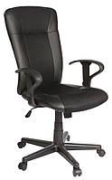 🏡Кресло офисное на колесиках черное кожаное с ручками | кресло офис, кресло офисное, кресло компьютерное, кресло комптютерное, кресло черное офисное, фото 1