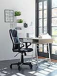 🏡Кресло офисное на колесиках черное кожаное с ручками | кресло офис, кресло офисное, кресло компьютерное, кресло комптютерное, кресло черное офисное, фото 2
