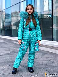 Подростковый зимний комбинезон горнолыжный с капюшоном и мехом vN3457