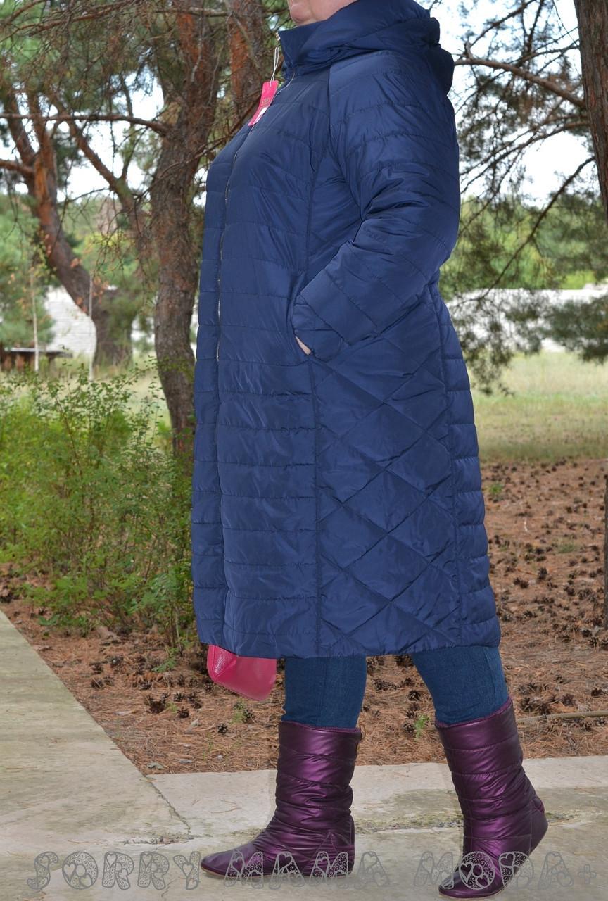 (от 48 до 82 размера) Стеганное плащевое женское пальто в больших размерах на молнии vN3461