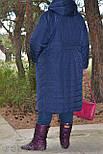 (от 48 до 82 размера) Стеганное плащевое женское пальто в больших размерах на молнии vN3461, фото 2