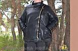 (от 48 до 82 размера) Короткая кожаная куртка с косой молнией в больших размерах vN3462, фото 2