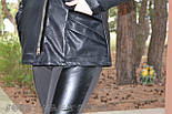 (от 48 до 82 размера) Короткая кожаная куртка с косой молнией в больших размерах vN3462, фото 3