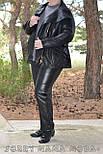 (от 48 до 82 размера) Короткая кожаная куртка с косой молнией в больших размерах vN3462, фото 4