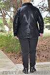 (от 48 до 82 размера) Короткая кожаная куртка с косой молнией в больших размерах vN3462, фото 5