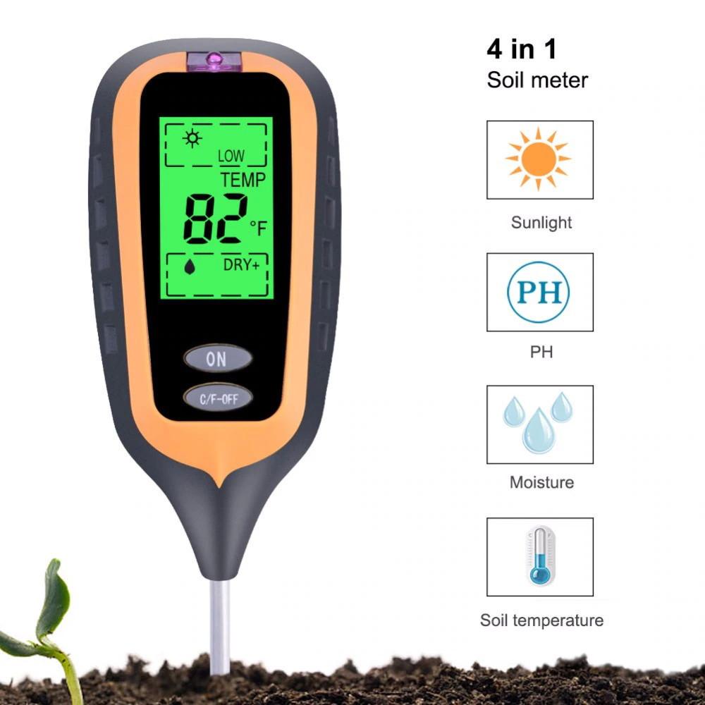 Анализатор почвы 4 в 1 (pH метр, влагомер, термометр и люксметр)