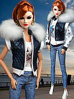 Одежда для кукол Барби - стёганный жилет с капюшоном, фото 1