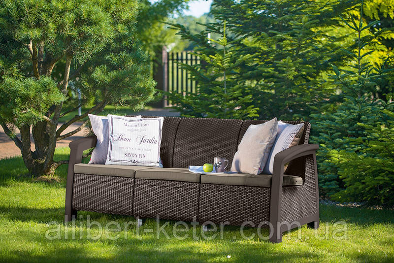 Набір садових меблів Bahamas Love Seat Max Brown ( коричневий ) з штучного ротанга (Allibert by Keter)