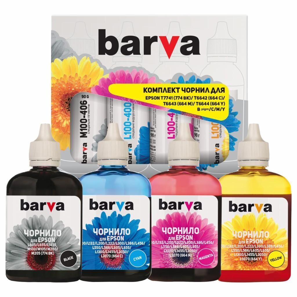 Чернила BARVA Epson L605/L655/L1455 B/C/M/Y (4x90 г) SET (E-L605-090-MP)