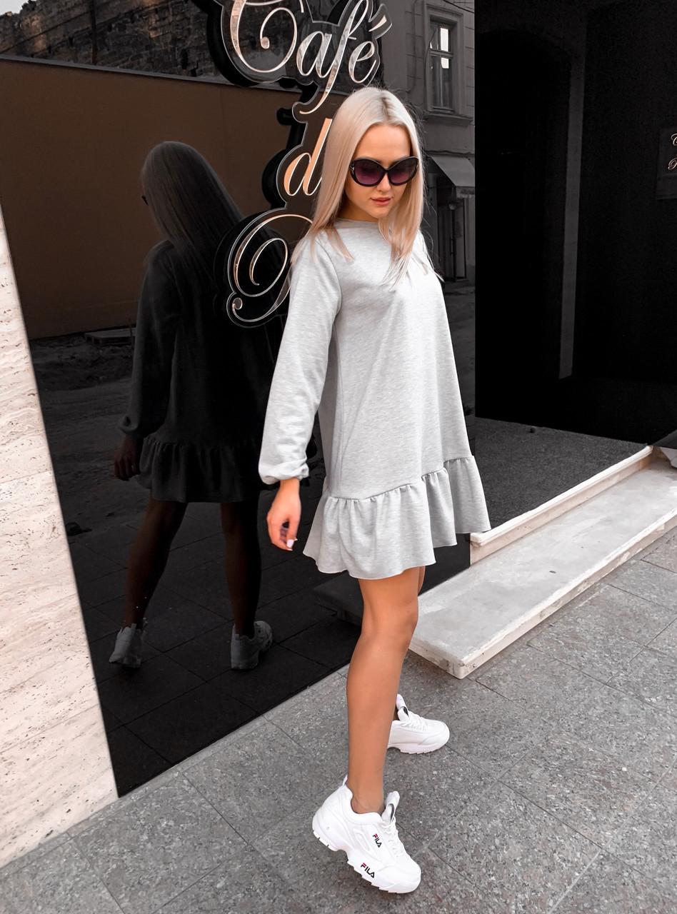 Платье женское с оборкой по низу стильное размер 42 44 46 Новинка 2019  есть много цветов
