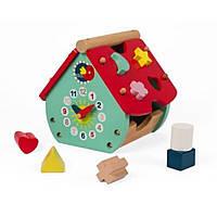 Развивающая игрушка Janod Сортер Домик с часами (J08008)