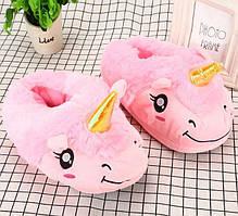 Плюшевые тапки лапки розовый единорог kig002
