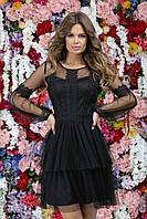 """Нарядное женское платье с рукавом гипюр """"Сакура"""", черный"""