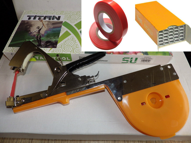 Степлер для подвязки TITAN 6 +  скобы + 10 лент (набор)
