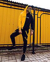 Теплое Двухцветное худи Be Happy черно-желтое