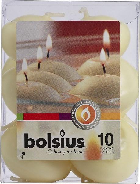 Плавающие свечи Bolsius кремовые 10 шт (пл10-011)